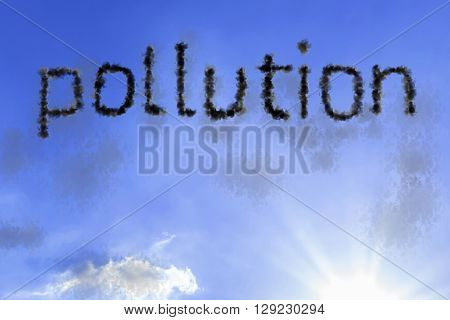 Pollution cloud word with a blue sky