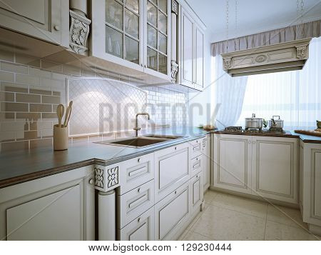 Inspiration for a traditional l-shaped eat-in kitchen with an undermount sink recessed-panel cabinets snowy-white cabinets granite countertops stone tile backsplash and stainless steel appliances.