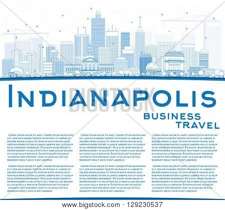 Outline Indianapolis Skyline with Blue Buildings and Copy Space. Vector Illustration. Business Travel and Tourism Concept with Modern Buildings. Image for Presentation Banner Placard and Web Site.