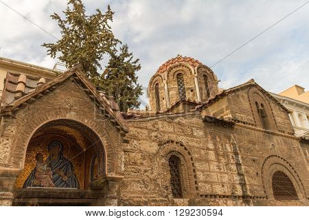 Church of Panagia Kapnikarea an ancient church in Athens Greece. Photographed on Good Friday in 2016