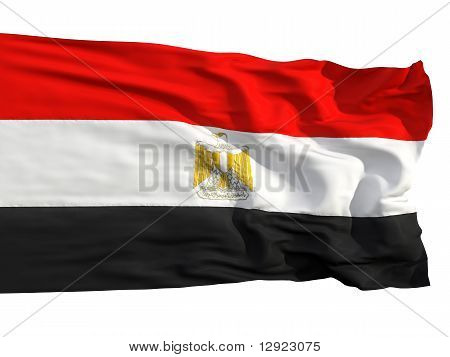 Flag Of Egypt, Fluttered In The Wind