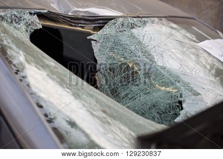 Close Up of a Broken Car Windshield