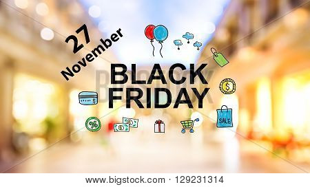 Black Firday November 27 Text On Blurred Shopping Mall Background