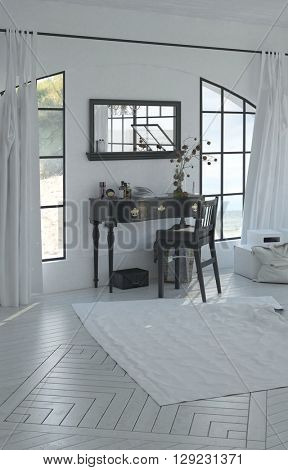 Peaceful home office with mahogany desk and chair in between arched windows and wide mirror on white wall. 3d Rendering.
