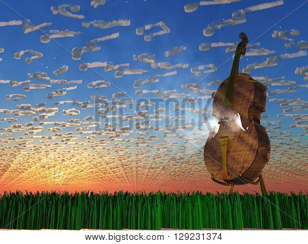 Cello emits light with clouds formed as musical notations 3D Render