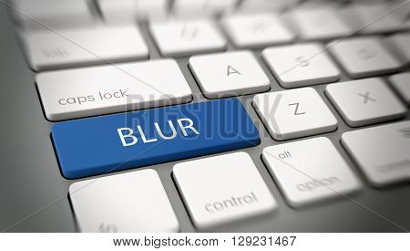 Online or internet concept with white text - BLUR - on a blue enter key on a white computer keyboard viewed at an oblique high angle with blur vignette for focus. 3d Rendering.