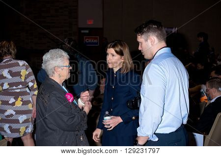 SHAKOPEE, MINNESOTA - APRIL 30, 2016: Minnesota Attorney General Lori Swanson talks with participant at local democratic party convention in Shakopee on April 30.