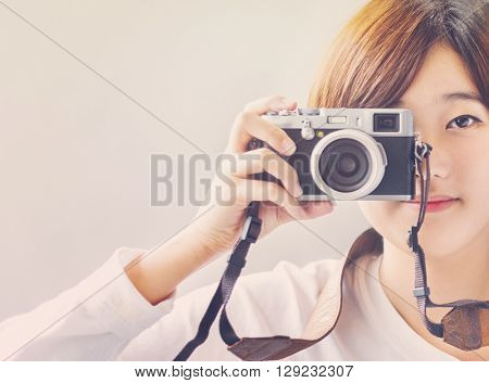 Asian Girl Camera Photographer Focus Shooting Concept