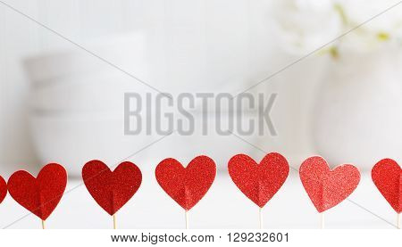 Small Red Hearts With White Porcelain Dishes