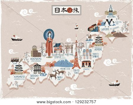 Japan travel map design - Japan travel in Japanese on the top