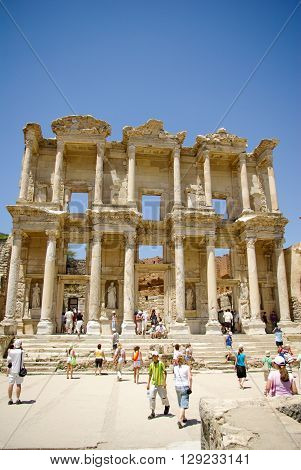 The library of Celsus is an ancient Roman building in Ephesus