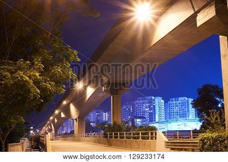 beautiful night view empty freeway in singapore