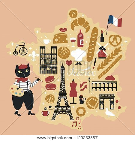 adorable French bread map with delicious desserts