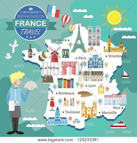 attractive France travel map with attractions and specialties