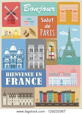 modern France poster with attractions and specialties