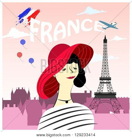 fashion French woman poster with famous attractions