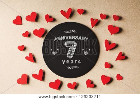 Anniversary 7 Years Message With Small Hearts