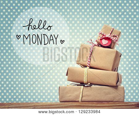Hello Monday Message With Gift Boxes