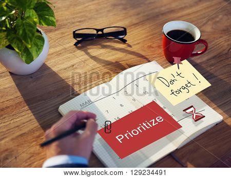 Prioritize Calendar Plan Planning Organizer Concept