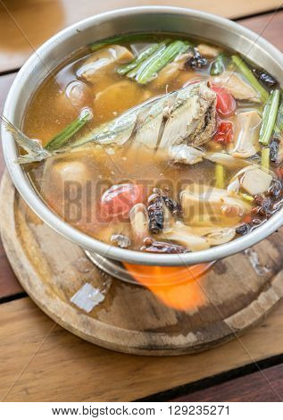 Tom yum Pla, Fish Spicy soup,Tom yam is a spicy clear soup typical in Thailand and No.1 Thai Dish Cuisine.
