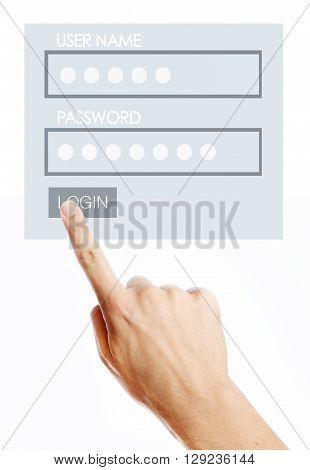 Male pressing login button on virtual screen
