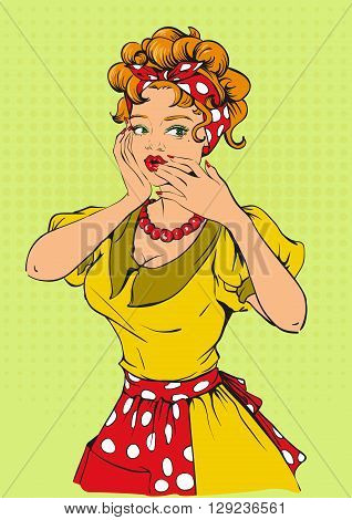Retro woman covered her mouth and says wow. Cartoon illustration in vector format