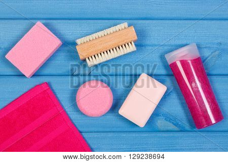 Cosmetics and accessories for personal hygiene in bathroom soap body scrub towel brush pumice concept of body care