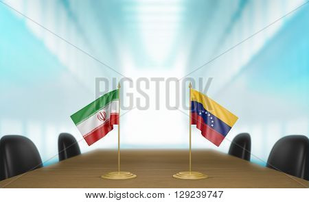 Iran and Venezuela relations and trade deal talks, 3D rendering