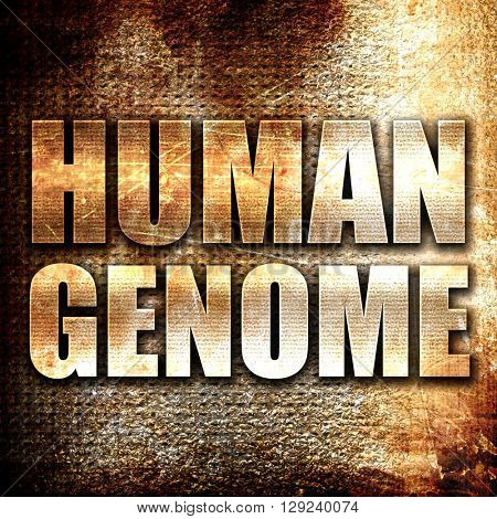 human genome, rust writing on a grunge background