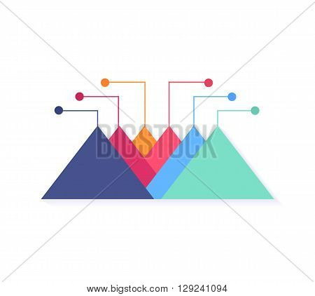 Level chart with colored arrows. Colored arrows indicate the level number. Charts and graphs business template for statistical or financial data report. Infographic information. Vector illustration