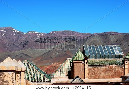 Kasbah Telouet Morocco roofs, ancient skylight, glass houses