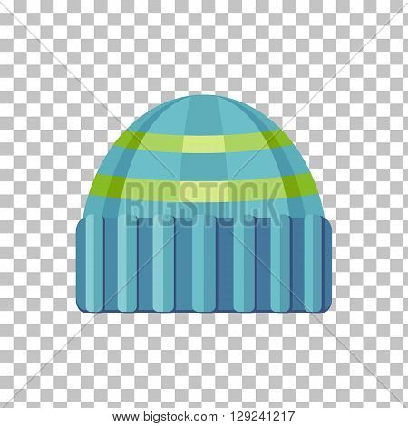 Winter green wool hat icon. Knitted winter woolen cap isolated on checkered background. Flat icon winter snowboard hat cap. Vector illustration