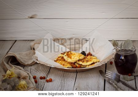 Luscious Cheesecakes On A Metal Tray With Wooden Background
