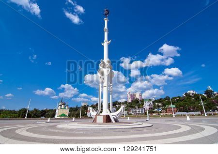 VORONEZH, Russia - June 07 2013, Stela at the Admiralty waterfront, Voronezh