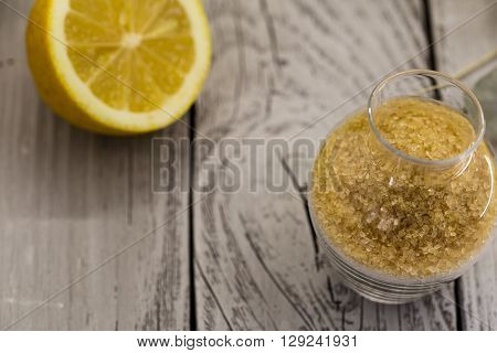 Lemon, Lemonade , Cane Sugar On Wooden Background