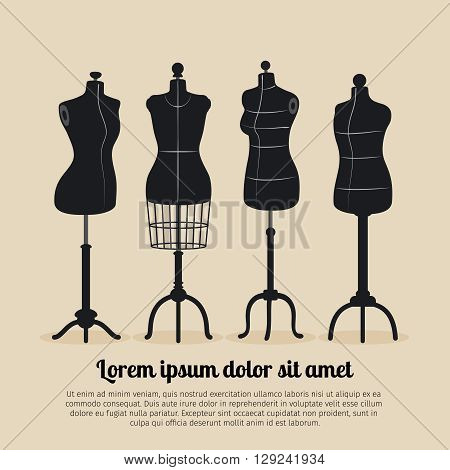 Female body vintage mannequin set. Tailors mannequins vector illustration