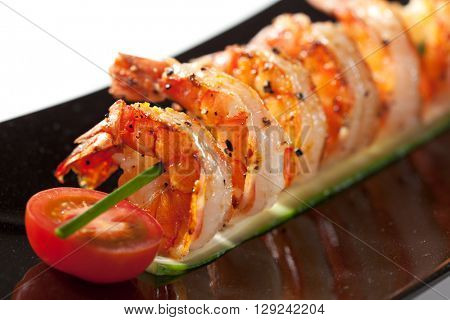 Fried Prawns Dish with Cherry Tomato