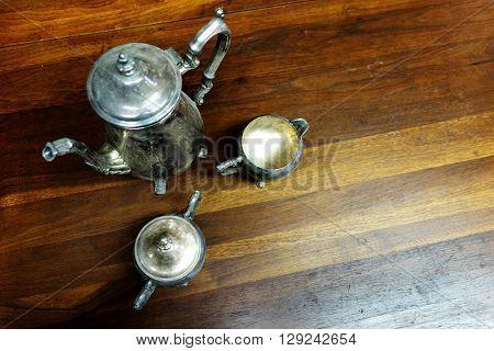 Silver tea set cups pitcher drinks design hand made