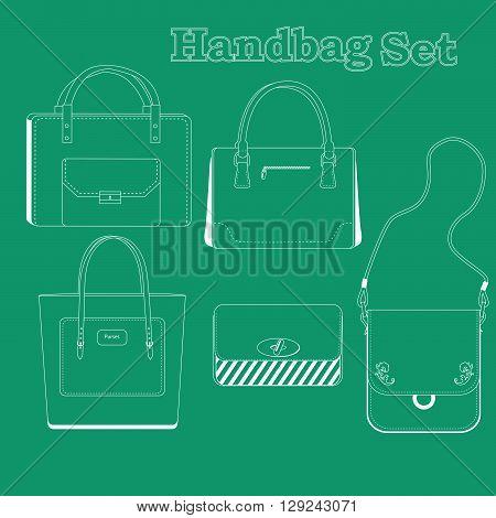 A women's handbag set, line art, five style of fashion purses