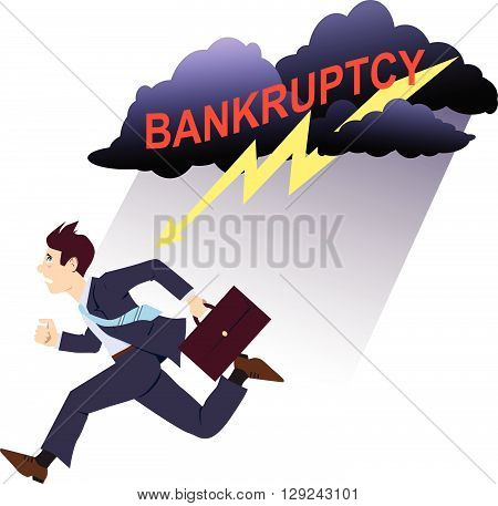 Scared businessman running away of a storm clouds and lightening with the word bankruptcy written in red, vector cartoon
