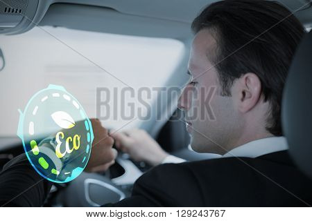 Ecology logo against businessman in the drivers seat