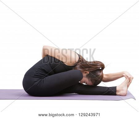 portrait of asian woman wearing black body suit sitting in yoga meditation position isolated white background