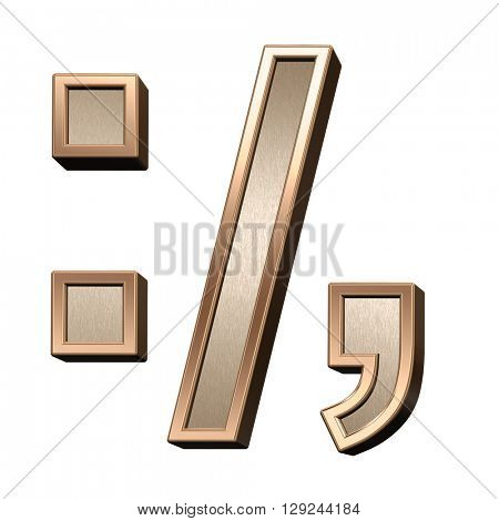 Colon, semicolon, period, comma from brushed copper with shiny frame alphabet set, isolated on white. 3D illustration.