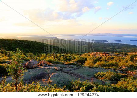 Acadia National Park scenic sunset view from Cadillac Mountain