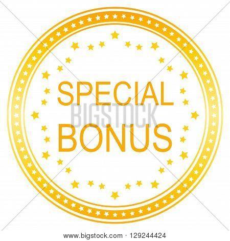 Orange round special bonus button with stars border