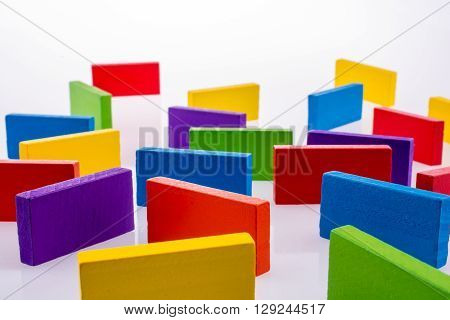 Color dominoes of various color on a white background