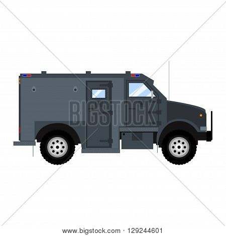 Vector bank armored car or bulletproof car. Isolated on white.