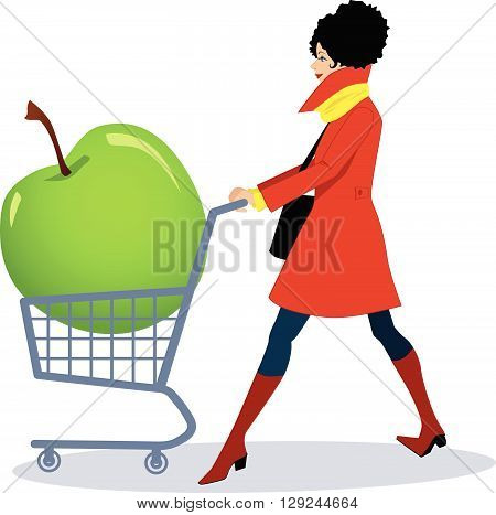 Healthy grocery shopping. A woman pushing a shopping cart with a huge green apple in it.