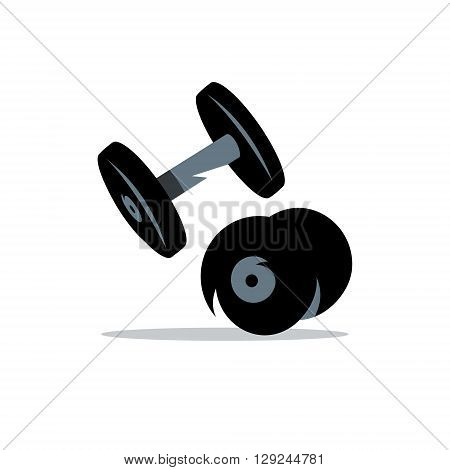 Two iron weights for strength training Isolated on a White Background