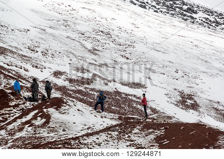 Tourists On Cotopaxi Volcano